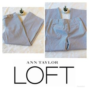LOFT | Ann Striped Wide Leg White Dress Pants 8P